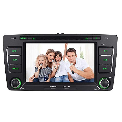 IAUCH GPS-Navigation für Auto mit integriertem Mikrofon, unterstützt Lenkradkontrolle, Spiegel-Link, Bluetooth, 3G, VMCD, DAB, Auto, GPS, Navigator, DVD-Player, Stereo, für Skoda Octavia Yeti Fabia