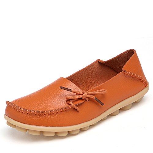 AFFINEST ocassins Femmes Loisirs Confort Chaussures Plates Loafers en PU Cuir Chaussures de Conduite,20 Couleurs Orange