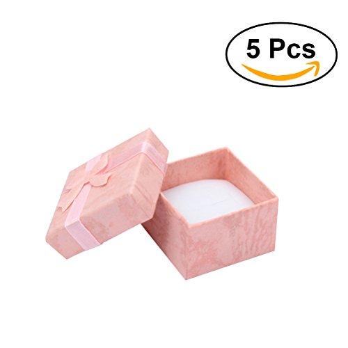 5 Stücke Geschenkschachteln TOYMYTOY Klein Geschenkbox quadratisch mit Schleife für Hochzeit Party Rosa (Design-andenken-schmuck-boxen)