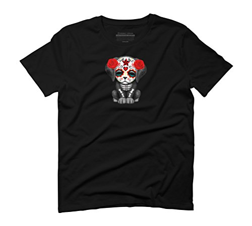 Cute Red Day of the Dead Puppy Dog Men's Graphic T-Shirt - Design By Humans Black