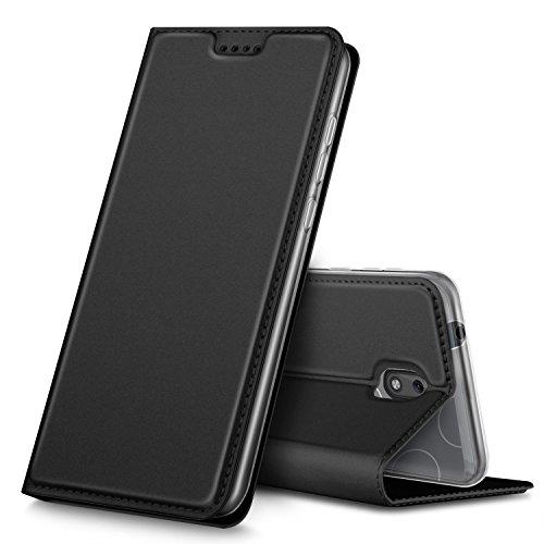 Nokia 1 Hülle, GeeMai Premium Flip Case Tasche Cover Hüllen mit Magnetverschluss [Standfunktion] Schutzhülle Handyhülle für Nokia 1 Smartphone, Schwarz