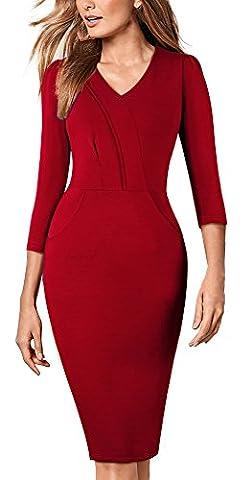 HOMEYEE Frauen Weinlese Chic formale 3/4 Hülse V-Ansatz Abnutzung zu arbeiten um Kleid B368 (EU 40 = Size L, (Mutter Der Braut Formal Wear)