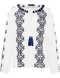HALLHUBER Ethno-Bluse mit Kreuzstickerei leicht ausgestellt