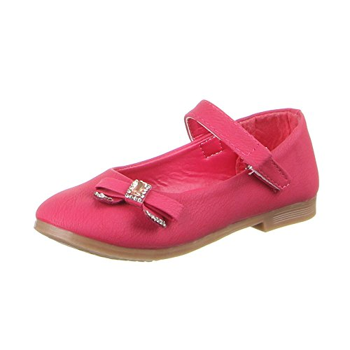 Kinderschuhe Ballerinas Mädchen Strass Deko Halbschuhe Schwarz Pink Rosa 25 26 27 28 29 30 Rosa