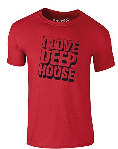 Brand88 - I Love Deep House, Erwachsene Gedrucktes T-Shirt Rote/Schwarz