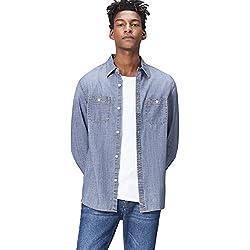 FIND Camisa Vaquera de Corte Estándar para Hombre, Azul (Light Vintage Wash), Medium