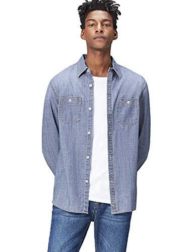 FIND Camisa Vaquera de Corte Estándar Para Hombre, Azul (Light Vintage Wash),...