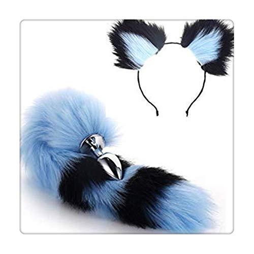 Z-one 1 Pop-Up-Spiel Halloween Party Spielzeug Liebe Geschenk Kleidung Set Metall Fuchs Hund Schwanz Plug + kurze Plüsch Ohren Katze Damen Kopfbedeckung (Schwarz & Blau)