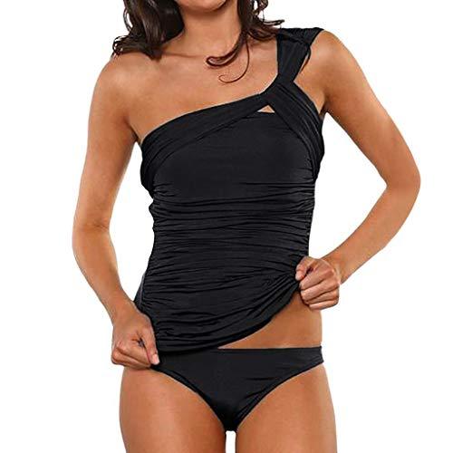 RYTEJFES Tankini Set Push Up Sexy Damen Badeanzug Zweiteiler Geraffte Eine Schulter Keyhole Low Waist Bottoms One Shoulder Volltonfarbe Tankini mit hohem Beinausschnitt -