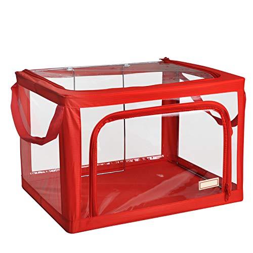 Gstrand Aufbewahrungsboxen Mit Deckel, Aufbewahrungskörbe Aus Transparentem, Stoff Faltenden Kleiderschrank Aufbewahrungsbox, Aufbewahrungsbox Aufbewahrungsbox (8 Farbe),Red,M