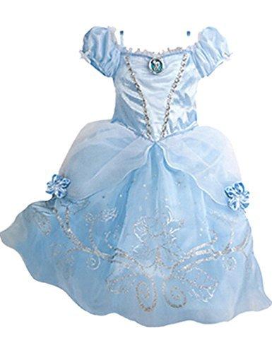 Ninimour Prinzessin Kleid Grimms Märchen Kostüm Cosplay Mädchen Halloween Kostüm Blau#2, Gr.150