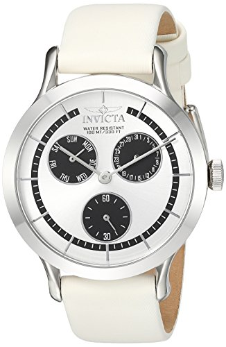 Invicta Women's 'Angel' Quartz Stainless Steel and Leather Casual Watch, Color:White (Model: 22493)