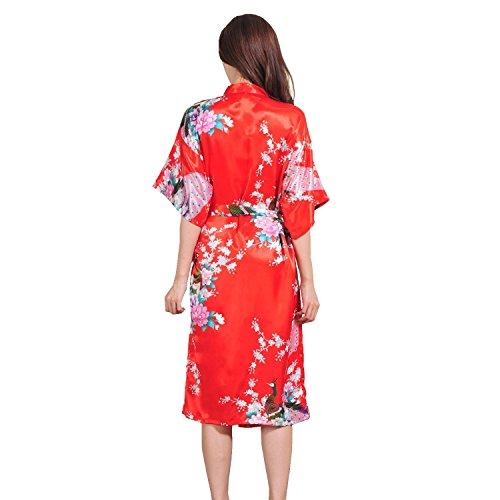 Honeystore Damen lange Kimonos für Damen Bademantel aus Satin mit Pfau und Blüten Morgenmantel Robe Schlafanzug Rot