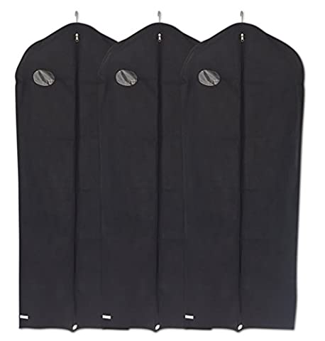 Garment Covers Bags by DRYZEM Set of 3 Long Breathable Covers for Suits, Shirts, Gowns and Dresses 2 Year