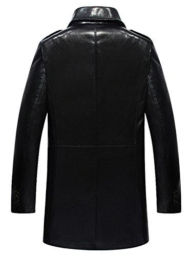 Herren Mode Geschäft Leder Revers Leder Wind Graben Mantel Schwarz