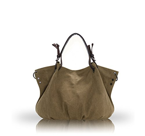 Nicole&Doris 2016 New Retro Mesdames / Femmes / femme grand sac d'¨¦paule Mobile Messenger sac de toile de sac ¨¤ main(Brown) Kaki