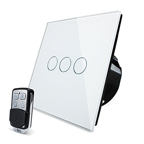Wallpad - Interruptor con panel táctil de cristal, en 3 colores, compatible con mando a distancia, apto para lámparas de 1 a 1000 W., Blanco, 3 gang 1 way remote switch 2000.00watts