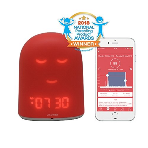 UrbanHello REMI – Babyphone audio avec alertes de bruit 5-en-1 - Réveil Jour Nuit éducatif et Suivi du sommeil - Veilleuse - Enceinte Bluetooth - en Rose