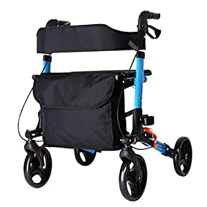 Dbtxwd Old Man Walker Aid,Folding Lightweight Four Wheel Rollator Walking With Chair,Elderly Scooter Shopping Cart With Brakes And Carry Bag