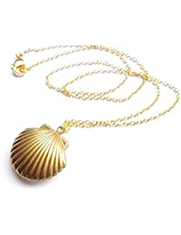 Lavany Sea Shell Locket Pendant Gold Locket Gold Brass Necklace Womens Jewelry (Gold)