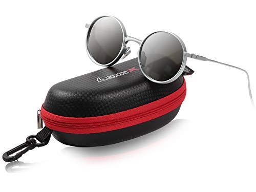 Loox Retro Sonnenbrille Nerd-Brille runde Gläser, bruchsicher aus Polycarbonat - Vintage - Verspiegelt Farbe: Silber 'London' - Uv-Schutz 400