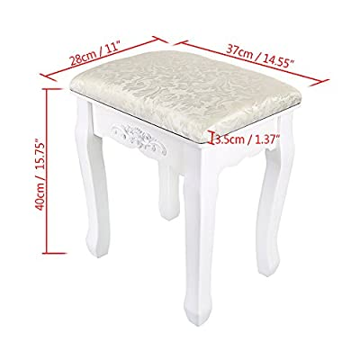 OGORI Vintage White Dressing Table Stool Soft Padded Piano Chair Rest Makeup Dressing Table Chair - cheap UK light store.