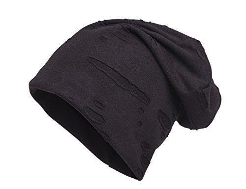 Shenky - Bonnet unisexe - jersey Effet Déchiré/Vieilli - Noir