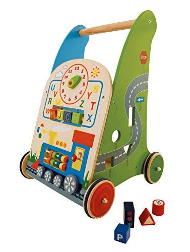 Bieco 74103209 Lauflernwagen mit Aktivitäten, Lauflern- und Spielwagen für Kinder ab dem 9. Monat, rot