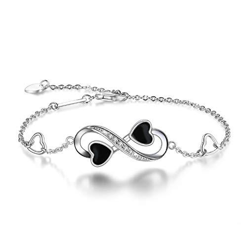 131f789b9 Bracelet d'amour pour Femmes Infinity, en Argent Massif-925 Bracelet  Réglable Charm