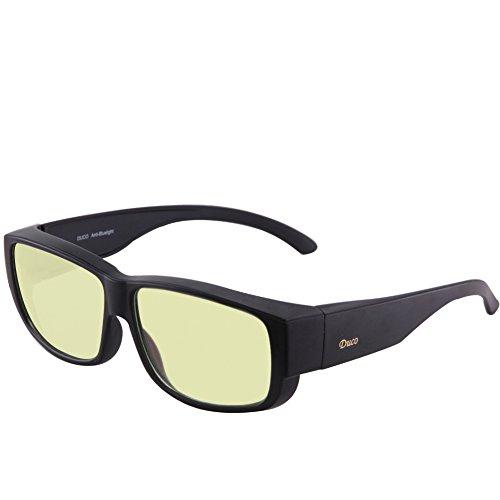 Duco Azul Filtro de Alta Protección - Lentes Color Ámbar Premium - Gafas contra Cansancio para Pantallas de Ordenador, Móviles, Tabletas, TV - Sobregafas para Descansar contra Luz Azul (XL)