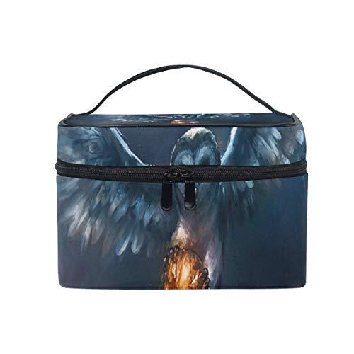 Tragbare hängende Make-up Kosmetiktasche Tasche,Makeup Bag Owl and Halloween Pumpkin Fireball Cosmetic Bag Portable Large Toiletry Bag for Women/Girls Travel