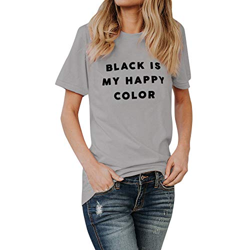 aecdf953d TOPKEAL T Shirts Ladies Black is My Happy Color Letter Short Sleeve Summer  Blouses Women Tops