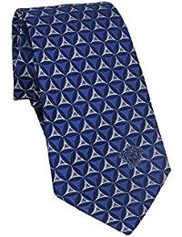 Versace Men's Blue Silver Geometric Print Neck Tie