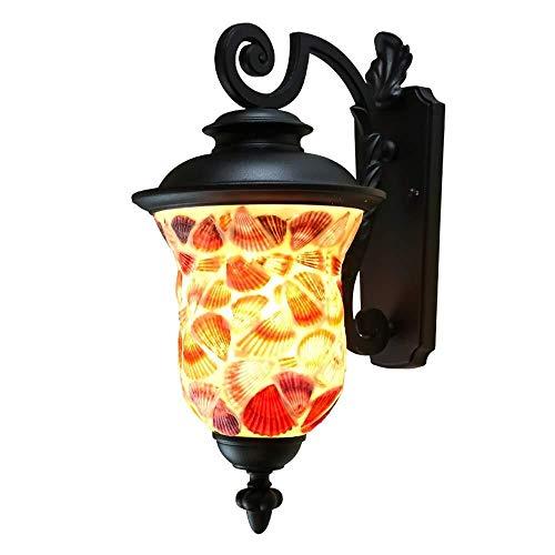 Yikuo Wandleuchte, LED Wandleuchte, Außenwandleuchte, Flur, Gang, Balkonwandleuchte, Antike Glaslampe, 55 * 40cm, E27 * 1 Elegant und schön - Wand-lampen-schnur-abdeckungen