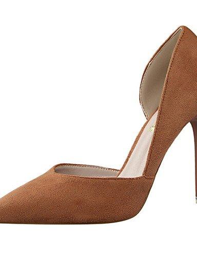 WSS 2016 Chaussures Femme-Habillé-Noir / Rose / Rouge / Gris / Kaki-Talon Aiguille-Talons / Bout Pointu / Bout Fermé-Talons-Daim pink-us5.5 / eu36 / uk3.5 / cn35
