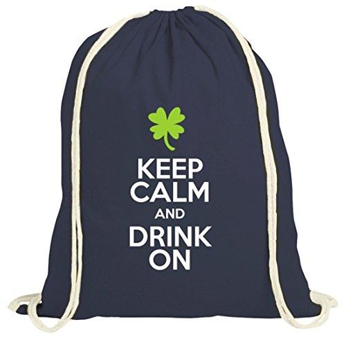 Saint Patrick´s Day St. Patricks Day natur Rucksack Turnbeutel Keep Calm And Drink On dunkelblau natur