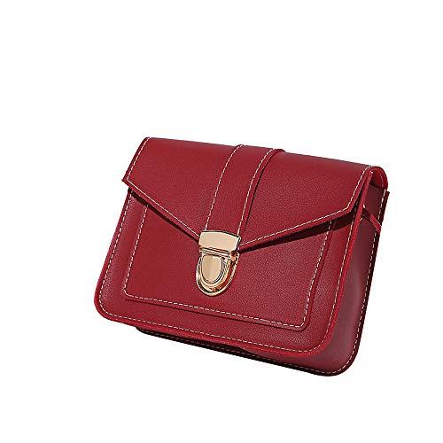 SuperSU Damenmode reine Farbe Leder Messenger Schultertasche Brusttasche Umhängetasche Damen Schultertasche Tasche Kunstleder für Arbeit Schule Shopper Lässige täglich (Rot)