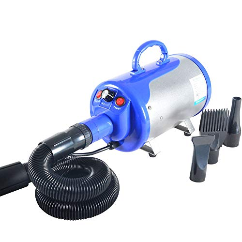 ZZQ 2800W Haustierpflege-Föhn mit Variabler Geschwindigkeit, Hochgeschwindigkeits-Hundekatze, Fön, Blasterfell-Gebläse mit 2-Gang-Temperatur und flexiblem Schlauch,Blue -