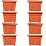 #10: TrustBasket Set of 8 Square UV treated,Hevy Duty Plastic Planter 12 inch