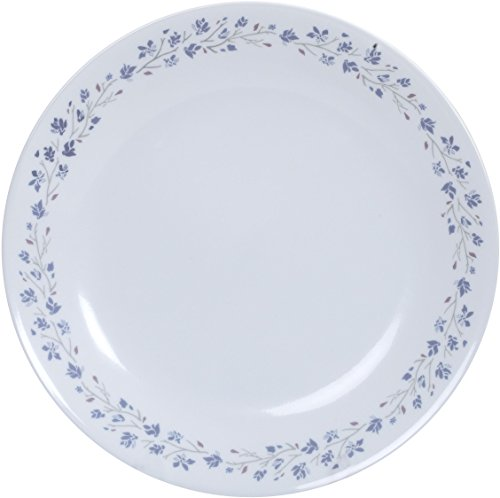 Corelle Lilac Blush Glass Dinner Glass Plate Set, Set of 6, White and Blue
