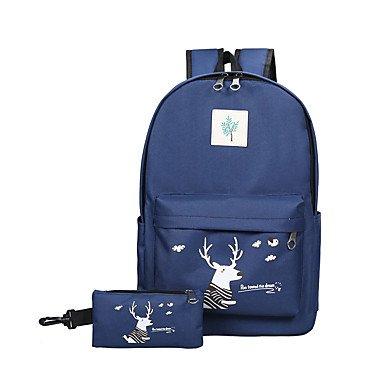 Women Backpack Canvas All Seasons Sports Outdoor Shopping Bucket Ruffles Zipper Black Blushing Pink Gray Navy Blue Azure,Navy Blue