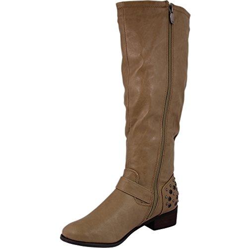 Magnifique v1192 bottes avec strass - Kaki
