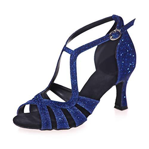 KQJLatin Hohl Scheint Pailletten Rutschfest Weicher Boden Party Lateinische Tanzschuhe Frauen Hoher Absatz,Blue(Heel:7.5cm),35EU