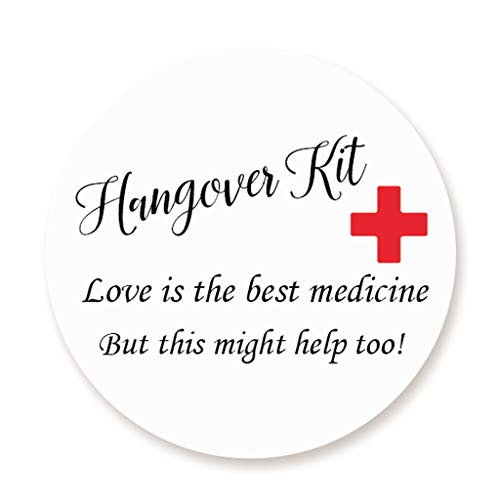 over Kit Sticker - Love is the best medicine Aufkleber - 40mm Funny Party Kater Kit Etiketten für Gastgeschenke zur Hochzeit,Geburtstag,Bachelorette Party Survival Kit - UNI 312 ()