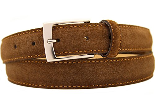 Italienischer Wildledergürtel Herren Damen Suede Belt Braun UniSex Gürtel 3cm Breit (115cm)