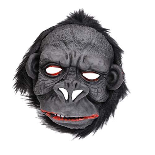 Amosfun Gorilla Maske Neuheit Halloween Kostüm Party Tier Kopf Maske AFFE Kopfbedeckung Orang-Utan Maske Grusel Party Maske Lustige Halloween Maskerade Maske Schwarz (Gorilla Maske Kopf)