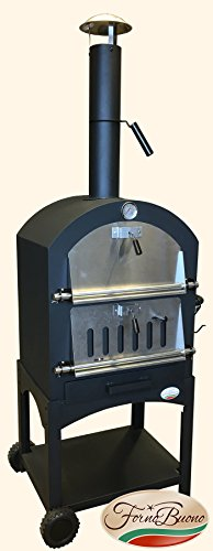 This one adds an antique feel to the garden and it has wheels that let you place it anywhere. It also smokes meat or grill food. Better still, it is quite an affordable model. Its removable tray makes it easy to clean after every meal.