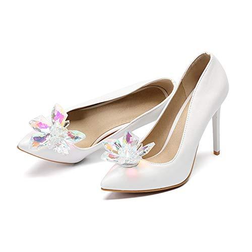 HRCxue Pumps Weiß Cinderella Crystal Schuhe High Heel Pumps Brautschuhe Brautjungfer High Heel, Weiß, 40 Crystal Heels