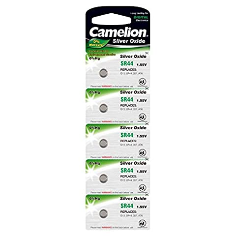 Camelion Batterie für Uhren,Taschenrechner SR44 / G13 / LR44 / 357 / A76 5er Blister, Silberoxid, 1,5V