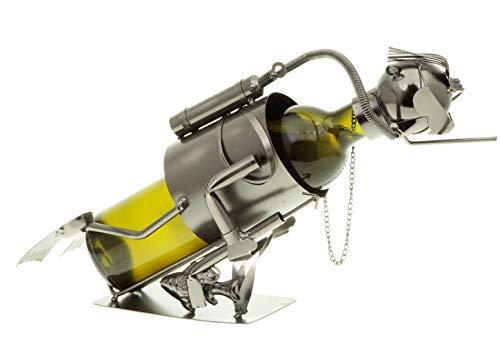hLine Flaschenhalter Taucher Metall Flaschenständer Geschenk Tauchsport